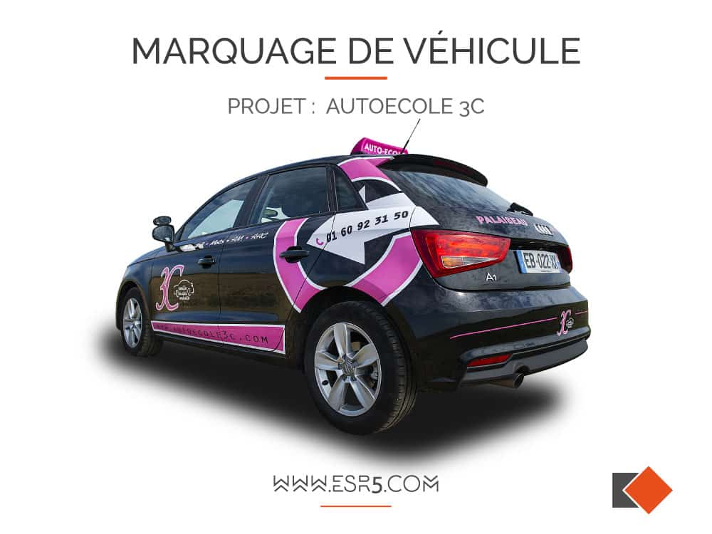 marquage publicitaire sur voiture auto ecole. Black Bedroom Furniture Sets. Home Design Ideas